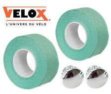 Velox Bianchi Celeste Cotton Handlebar Tape + Chrome End Plugs Vintage Style