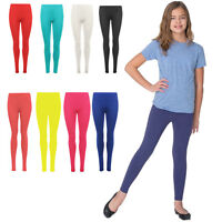 Girls Leggings Kids Plain Color School Fashion Dance Casual New Age 5-13 Years