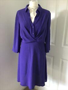 ~ Oliver Bonas ~ Purple Shirt Dress Size 10