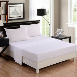 1000 TC Egyptian Cotton Fitted Sheet+ 2 PC Pillow Case AU Queen & White Solid