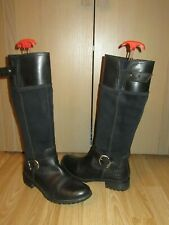 Womens TIMBERLAND Earthkeepers Black Leather/Suede Tall Zip Boots 8W / UK 6 VGC!