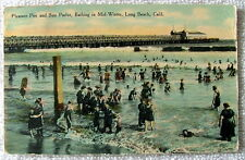 1910 POSTCARD PLEASURE PIER & SUN PARLOR BATHING IN MID WINTER LONG BEACH CA #rr