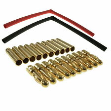 10 pairs 4mm gold-plated bullet (banana) connectors with heatshrink UK Seller