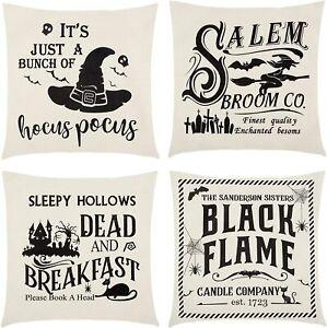 Halloween Pillow Covers 18x18 Set of 4, Vintage Halloween Throw Pillows Crow Sku