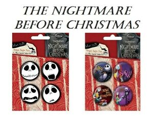 The Nightmare Before Christmas 8 x Button Badges in 2 x Packs 38mm Halloween