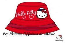 HELLO KITTY - LIQUIDATION - Bob en popeline de coton rouge 54 - Neuf étiquette