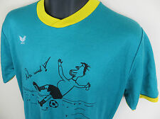 Vtg ERIMA Funny Football Shirt Retro Soccer Jersey #7 German Blue Trikot 7/8 L