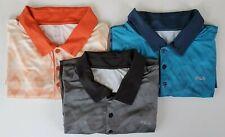Lot of 3 FILA Men's XL Short Sleeve Golf Polo Shirts Orange Black Blue Retro