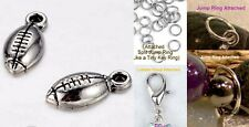 Football Sports Silver Charm For Bracelet Traditional Dangle Clasp Lobster