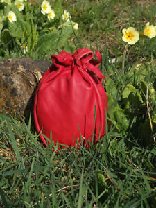 LEATHER DRAWSTRING POUCH BUSHCRAFT SURVIVAL MONEY PURSE FISHING RED  BAG L