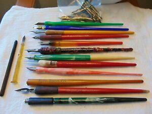 Vintage Lot Calligraphy Ink Dip Pens Nibs Kipp Bros. Eagle E. Faber Speedball