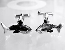 SHARKS CUFFLINKS, STERLING SILVER, ENAMEL by  DANILOFF & CO.