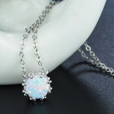 Round 8x8mm White Fire Opal 925 Sterling Silver Crown Pendants Chain Necklaces