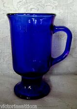 Collectible Vintage ANCHOR HOCKING Cobalt Blue Glass Footed Mug
