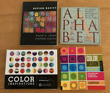ART INSTRUCTION 4 BOOK LOT: Graphic Design-Color Theory & Letters, Great Cond!