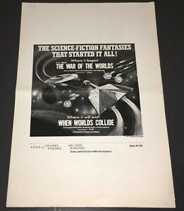 WAR OF THE WORLDS / WHEN WORLDS COLLIDE (1977) PARAMOUNT DOUBLE BILL PRESS - XF!