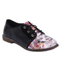 S17 - Ladies Patent Lace Up Oxford Flats With Magazine Pattern - UK 3-8