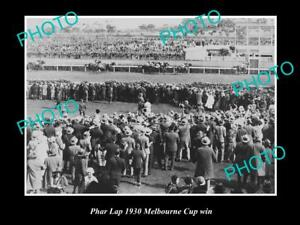 OLD 6 X 4 HORSE RACING PHOTO OF PHAR LAP WINNING THE 1930 MELBOURNE CUP