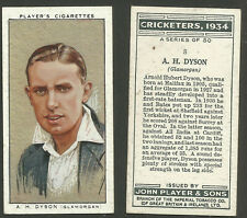 PLAYER'S 1934 CRICKETERS A.H.DYSON Card No 8 of 50 CRICKET CIGARETTE CARD