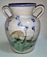 VTG Miniature Two Handled Vase Blue Flowers Thistle Signed LM Pottery Stoneware