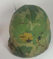 US Army Vietnam War era  Helmet plastic liner and Leaf Camouflage Cover 2 stars