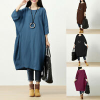 UK 14-26 Women Oversize Long Sleeve Casual Loose Maxi Dress Cotton Winter Kaftan