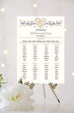 Wedding Table Plan / Seating Plan Hearts *All Colours* White or Ivory Background