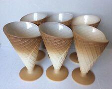 Vintage Set 6 Italian Ice Cream Parfait Sundae Waffle Cone Glasses Goblets Italy