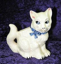 VINTAGE RAINBOW MARK JAPAN WHITE BOWTIE KITTY CAT PLANTER VASE