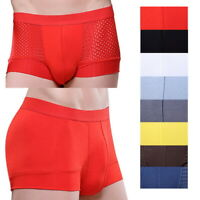 Men's Sexy Briefs Trunks Hollow Sexy Underwear Mesh Boxer Soft Briefs Panties
