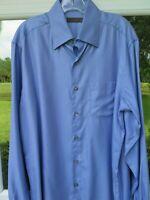 Ermenegildo Zegna Men's Long Sleeve Cotton Solid Light Blue Casual Shirt Large