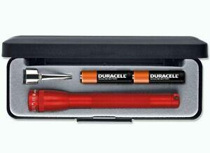 Mini MAGLITE 2 AAA LED Torch Flashlight, Presentation Box, Red 100 Lumen