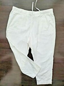 J .Jill Size XL Petite White  Elastic Waist Pocketed Pull On Ankle Pant