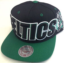 NBA Boston Celtics Mitchell and Ness Large Wordmark Snapback Cap Hat M&N NEW!