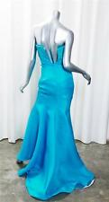 BADGLEY MISCHKA Turquoise Strapless Trail Mermaid Floor Length Gown Dress XS/S
