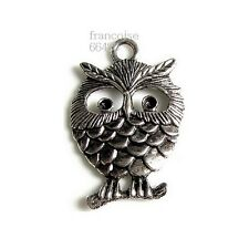 B577// 1 BRELOQUE CHARM PERLE / HIBOU CHOUETTE 36X23mm / CREATION BIJOUX COLLIER