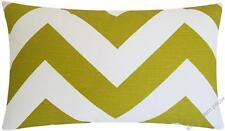 "Artist Green/White Chevron ZigZag throw pillow cover/cushion cover 12x20"""