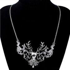 steampunk gothic punk rave new restyle rock deer stag antler statement necklace