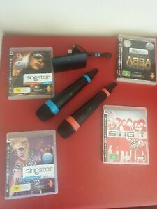 2x Wireless Singstar Microphones + 4 Games - For PS3 PlayStation 3