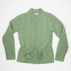 Cambridge Dry Goods Cardigan Sweater Size S Green Wool Angora Cable Knit Belted