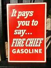 NOS vintage 1950's FIRE CHIEF GASOLINE advertising sign GAS STATION PUMP PLAQUE
