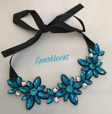 Ladies Statement Necklace Crystal Bib Fabric Ribbon Blue Gems
