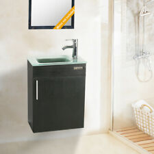 """19"""" Bathroom Wall Mount Vanity Cabinet W/Glass Sink Faucet Drain Combo P-Trap"""