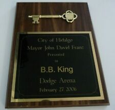 BB King OWNED 2006 Hiodalgo Key To The City Award Plaque JULIEN'S Estate Auction