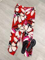 Ladies Summer Trousers Holiday Shopping Sz 16 Floral Orange Mix  Elastic Waist