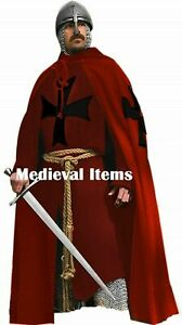 Medieval Knight Cloak & Full Sleeve Tunic Crusader Costume Reenactment LARP SCA