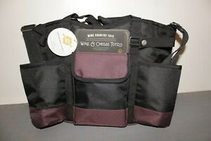 Legacy Burgundy/Black Insulated Two Bottle Wine and Cheese Picnic Tote Bag NEW