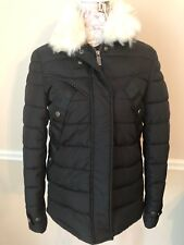 Hunter Boots Original  Black Jacket Down Coat XS Fur Collar