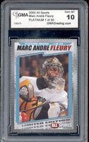2003 Marc Andre Fleury All Sports Platinum of 50 rookie gem mint 10