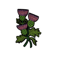 Scottish Thistle Embroidered Iron On Sew On Appliqué Patch Black